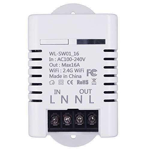 ZUQIEE Relé, 2.4G WiFi Smart Switch Relé 16A Tuya Smart Life App Control Remoto Compatible con Alexa Ifttt Casa