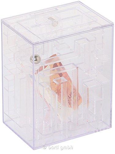 Out of the blue 69/1202 - Transparente Kunststoff-Spardose, Labyrinth, Circa 12 x 9.5 cm