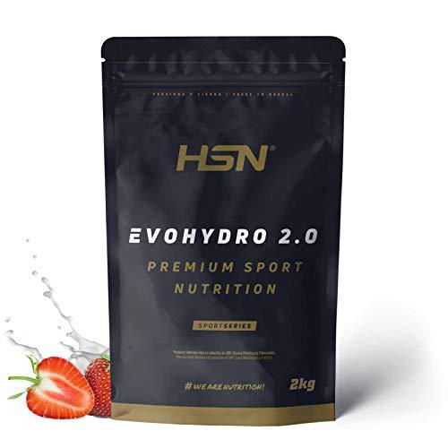 Proteína Hidrolizada de Suero de HSN Evohydro 2.0 | Hydro Whey | A partir de Whey Protein Isolate | Rica en BCAAs y Glutamina | Proteína Vegetariana, Sin Gluten, Sin Lactosa, Sabor Fresa, 2Kg 🔥