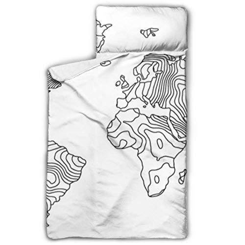 """Mapa realista amplio Continente Océano Sacos de dormir para niños Cuna de siesta para niños Guardería con manta y almohada Diseño enrollable Ideal para preescolares Guarderías para pijamas 50 """"x20"""""""