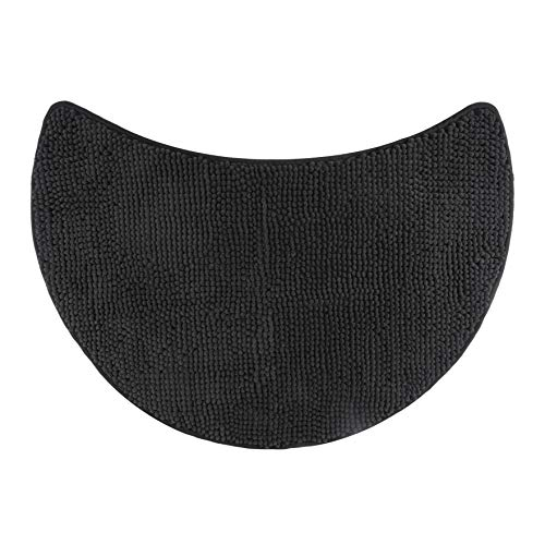 FLUFFY Badteppich für Rundduschen, Hochflor aus Mikrofaser-Chenille, rutschfeste Unterseite (Anthrazit)