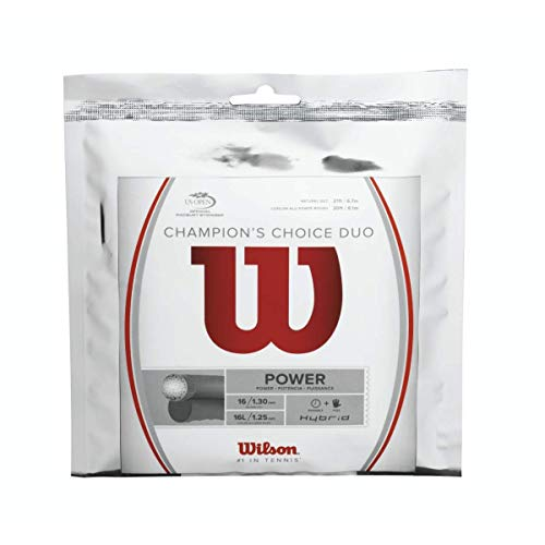 Wilson Champions Choice Duo Hybrid (Natural Gut/ALU Power Rough) Combo Tennis String Sets 4-Pack (4 Sets Per Order) - Best for Power, Comfort and Control