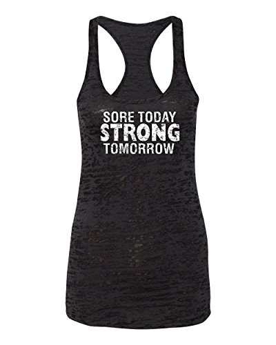 Womens Workout Tanks with Sayings (S, Black) - Sore Today Strong Tomorrow - Crossfit Clothes by Echona Apparel