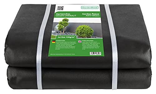 GardenMate 2mx15m Bahn/Plane 150g/m² Premium Gartenvlies - Unkrautvlies Extrem Reißfestes Unkrautschutzvlies - Hohe UV-Stabilisierung - Wasserdurchlässig - 2mx15m=30m²