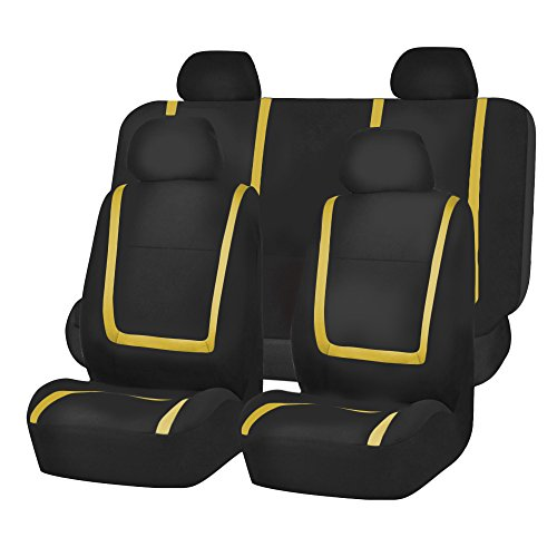 FH Group FB032YELLOW114 Yellow Unique Flat Cloth Car Seat Cover (w. 4 Detachable...
