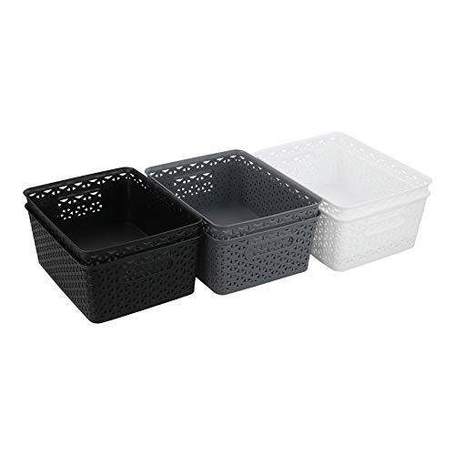 Readsky Aufbewahrungskörbe aus Kunststoff, 8 l, Schwarz / Weiß / Dunkelgrau, 6 Stück