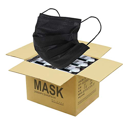 2000 PCS Bulk Black Face Masks (40 Packs, 50pcs/Pack), Non Woven Thick 3-Layers Breathable Facial Masks with Adjustable Earloop, Mouth and Nose Cover