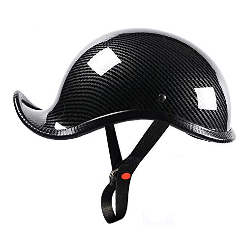 LYY Cascos Retro de Motocicletas para Hombres y Mujeres, Media Pieza enrollados Cascos, cerraduras Ajustables, para ciclomotores, cómodos y Transpirables (Color : L Stripes)