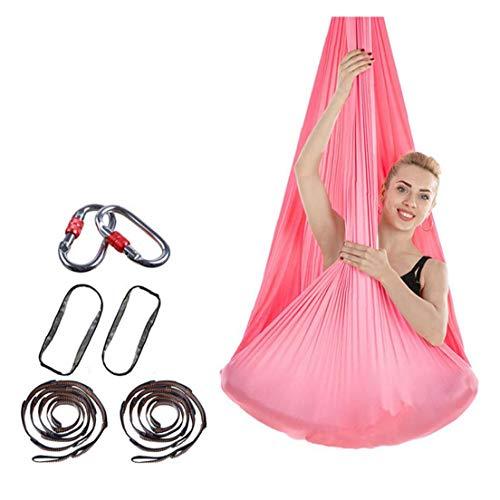 7pcs/Set Aerial Yoga Hammock Aerial Yoga Swing for Antigravity Yoga, Inversion Exercises, Improved Flexibility & Core Strength Pink