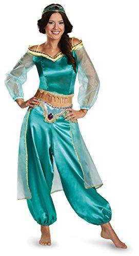 Disguise Women's Disney Aladdin Jasmine Sassy Prestige Costume, Green, Small 4-6