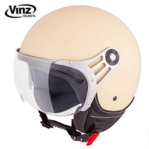 Vinz Jethelm Rollerhelm | In Gr. XS-M | Jethelm Motorrad | ECE zertifiziert (M, Creme)