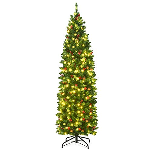 Goplus 6.5FT Pre-Lit Pencil Christmas Tree, Hinged Artificial Slim Xmas Tree w/ 806 Branch Tips, Premium PVC Needles (6.5FT)