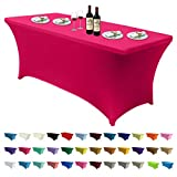 ABCCANOPY Spandex Tablecloths for 6 ft Home Rectangular Table Fitted Stretch Table Cover Polyester Tablecover Table Toppers