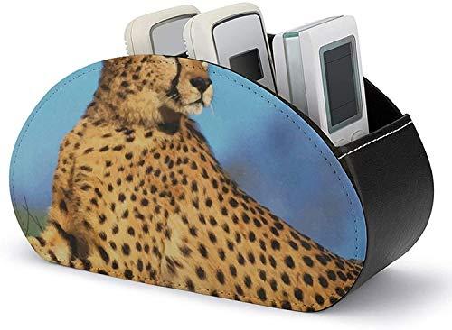 Para controladores multimedia - Soporte de control remoto todo en uno de 5 compartimentos, organizador de escritorio de cuero PU Animal Cheetah Remote Caddy para DVD / Blu-Ray / reproductor multimedi