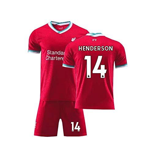 LCHENX-Liverpool Football Club Jordan Henderson # 14 Camisetas de Fútbol Ropa Deportiva Transpirable para Fans Hombres Niños Festival Regalo Camiseta Set,Rojo,M