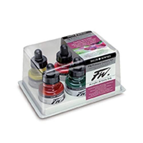 Set de Tinta Acrílica DALER ROWNEY FW, con 6 Frascos de Colores Primarios Surtidos (6 x 29,5 ml)