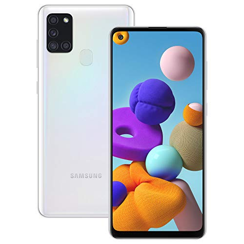 Samsung Galaxy A21s, Smartphone, Display 6.5' HD+, 4 Fotocamere Posteriori, 32 GB Espandibili, RAM 3 GB, Batteria 5000 mAh, 4G, Dual Sim, Android 10, Bianco