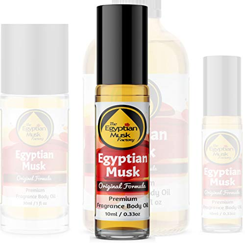 Egyptian Musk Oil, Choose from Roll On to 0.33oz - 4oz Glass Bottle, by WagsMarket - The Egyptian Musk Factory™ (0.33oz Roll On)