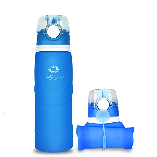silbyloyoe Silicone Water Bottle Foldable Collapsible Anti Leakage with Leak Proof Valve Bottles Travel Outdoor Sports Lightwight Portable Medical Food Grade 26 Ounce (Blue)
