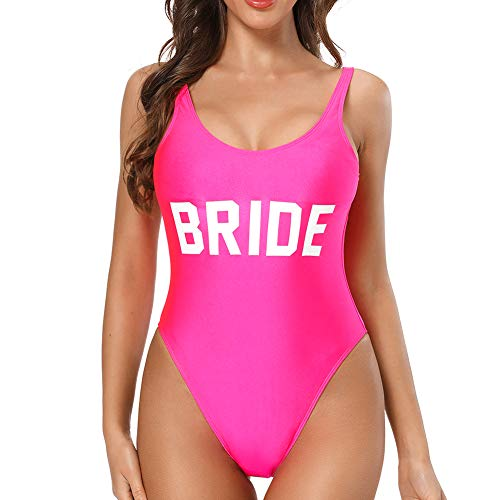 Dixperfect Baywatch-Inspired One Piece Swimsuit with High Cut and Low Back for Women (XL, HOT Pink-Bride)