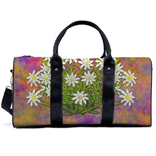 Bolsa de deporte para gimnasio, suiza Edelweiss flores, bolsa de yoga, bolsa de hombro, bolsa de viaje, bolsa de viaje para hombres y mujeres