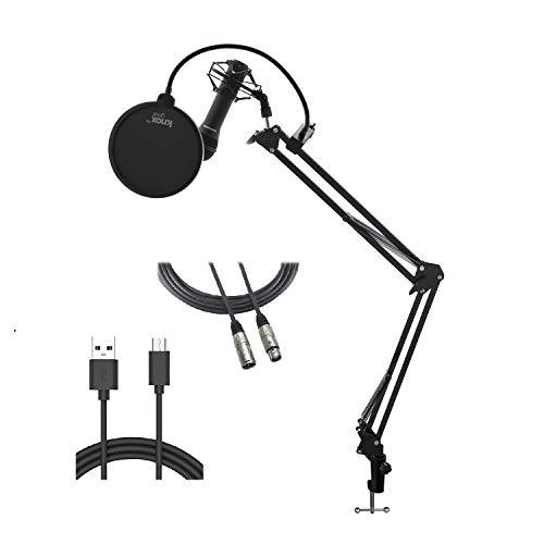 Samson Q2U Handheld Dynamic XLR/USB Microphone with Knox Gear Boom Arm, Shock Mount, Pop Filter Bundle