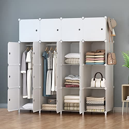 HOMIDEC Portable Wardrobe 16 Cube Closet with 3 Clothes Hanging Rods,...