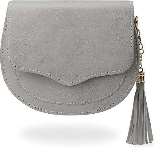 kleine halbrunde Damentasche klassische Schultertasche grau