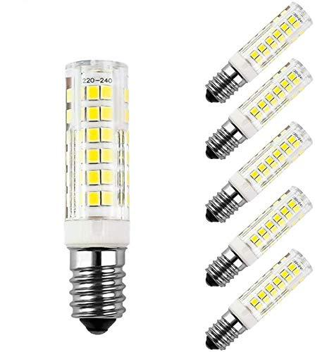 Lote de 5 bombillas LED de 7 W E14, blanco frío 6000 K, 60 W equivalentes a bombillas incandescentes, CA 220 – 240 V, 680 lm, ángulo de haz de 360°, no regulable.