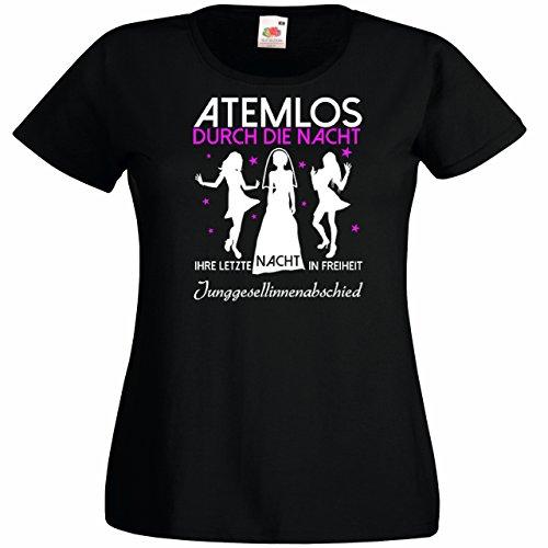 Damen T-Shirt für den Junggesellenabschied mit Motiv Atemlos - IHRE letzte Nacht in Freiheit (Frauen) in schwarz, Größe L