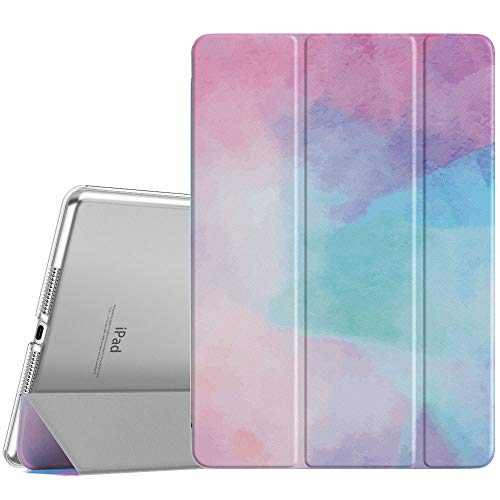 MoKo Case Fit New iPad 8th Gen 2020 / 7th Generation 2019, iPad 10.2 Case - Slim Smart Shell Stand Cover with Translucent Frosted Back Protector for iPad 10.2', Water Color(Auto Wake/Sleep)