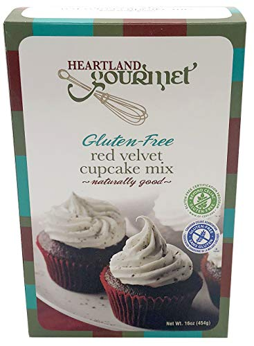 Heartland Gourmet: Gluten Free Red Velvet Cupcake Mix - Rich and Decadent - Certified Gluten Free Ingredients - All Purpose - Safe for Celiac Diet