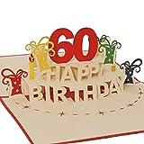 Favour Pop Up Glückwunschkarte zum runden 60. Geburtstag. Ein filigranes Kunstwerk, das sich beim Öffnen als Geburtstagstorte entfaltet. ALTA60R