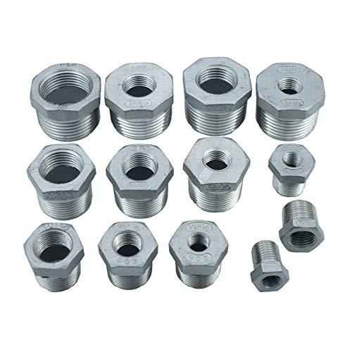 XIAOYUW 1pc Acero Inoxidable SS304 Pipe Fittings Reductor La reducción de buje Todo el tamaño BSP Macho BSP * Mujer (tamaño : Size 10)