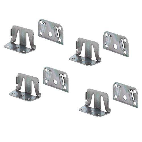 Gedotec Bettverbinder Metall Bett-Winkel für Bettkonstruktionen - Holz-Mittelbalken & Lattenrost | Bettsockel-Verbinder zum Einhängen | Bettbeschlag Stahl verzinkt | 4 Set - Einhängebeschlag