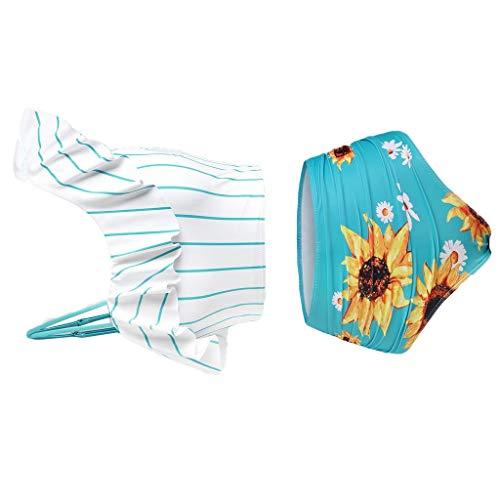 Conjunto de bikini para mujer con relleno push-up, talla grande, estampado de girasoles, traje de baño, traje de baño, traje de baño push-up, ropa de playa verde L