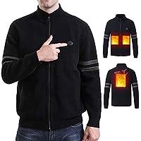 電熱カーディガン メンズ 秋冬 電熱ジャケット 加熱ニットカーディガン パーカー USB給電式 防寒 ニットジャケット 裏起毛 長袖 ジップアップ 暖かい 寒さ対策