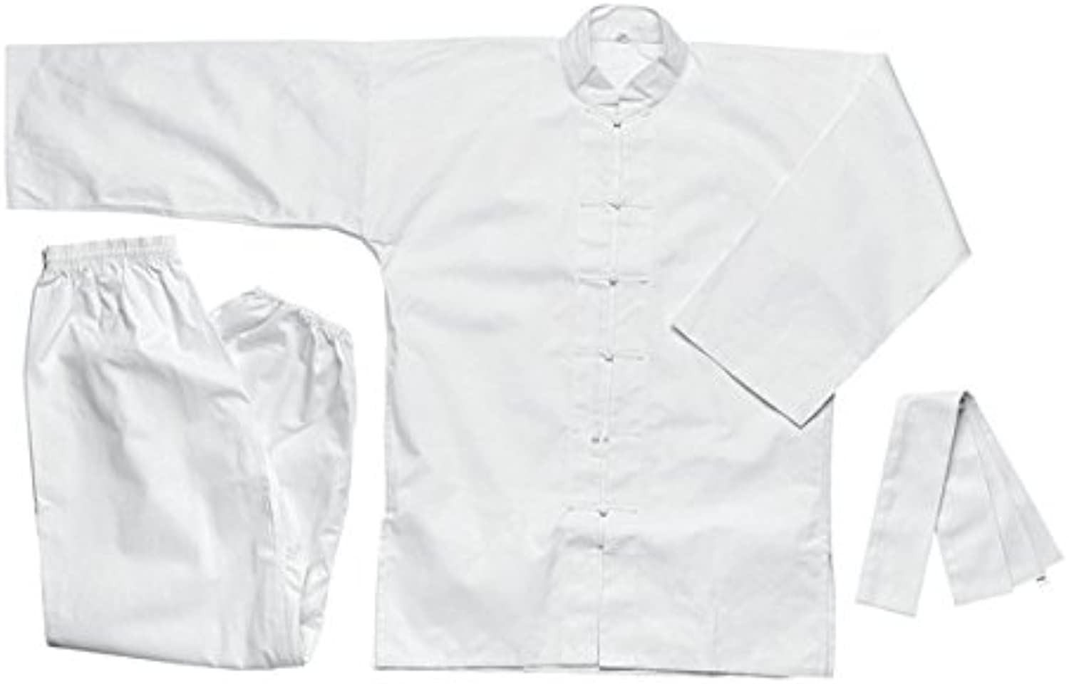 Complete 100% Cotton All White Kung Fu Uniform Made in Taiwan