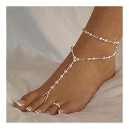Hkldm Joyería de Perlas de imitación de Playa Sandalias Descalzas Tobillera Tobillera Perla señoras Pulsera de Tobillo del pie