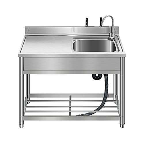 Free Standing Stainless-Steel Single Bowl Commercial Restaurant Kitchen Sink Set w/Faucet & Drainboard, Prep & Utility Washing Hand Basin w/Workbench & Storage Shelves Indoor Outdoor (39.5in)