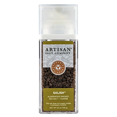 SaltWorks Salish Alderwood Salt, Coarse, Artisan Grinder Jar