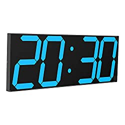 "CHKOSDA Digital LED Wall Clock, Oversize Wall Clock with 6"" Digital, Remote Control Count up/Countdown Timer Clock, Auto Dimmer, Big Calendar(Ice Blue)"