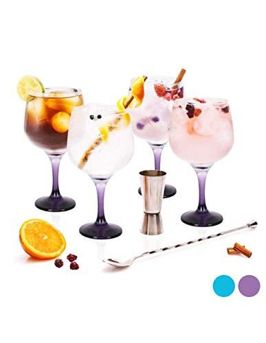 Inde 104643 Set Gin Tonic con 4 Copas de Balón/Vaso Dosificador/Cuchara Mezcladora y Recetario, Multicolor, Plastic
