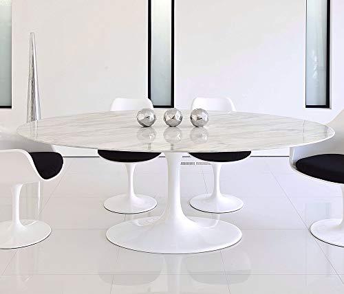 HABITMOBEL Mesa de Comedor Oval, mármol Blanco 180x100 cms