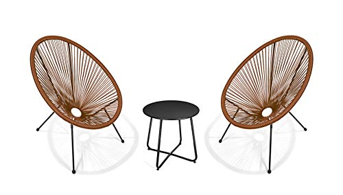 Pationate3-Piece Patio Acapulco Bistro Furniture Set, Small Metal Round Side Table (Midnight)