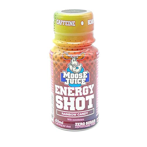 Moose Juice Energy Shot Rainbow Candy 60ml, Give You Extra Energy and Focus When You Need it, Pack of 4