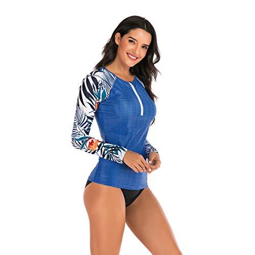 Damen Surfen Neoprenanzug Badeanzug Schwimmanzug Sonnencreme Langarm Bikinioberteil Swimwear Print Tankini Beach Surfing Suit Monokini Bademode, Blau, X-Large