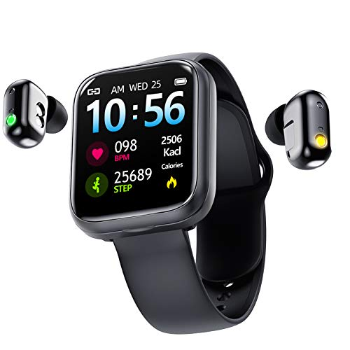 INTEREPRO Two in One Sports Bracelet Smart Watch with Bluetooth Earbuds,1.54Inch Touchscreen Fitness Activity Tracker Heart Rate Monitor with Camera Sleep Monitor for Voice and Music