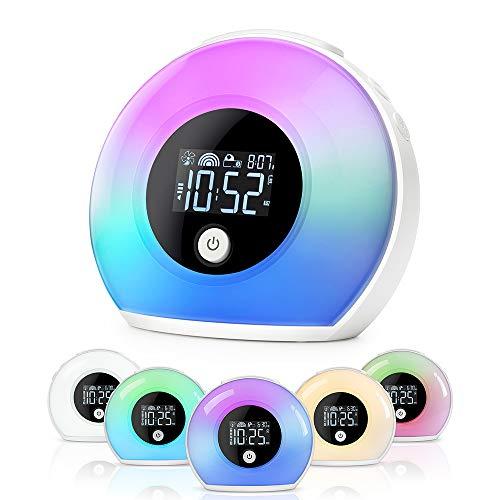 Lichtwecker Kinder mit Bluetooth Lautsprecher Powcan Nachttischlampe und Wecker Nachtlicht für Kinder Schlummerlicht für Schlafzimmer, Kinder Wecker für Kinderzimmer 5 Farbwechsel 4 Helligkeit