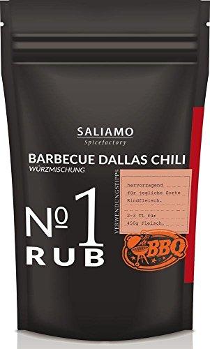 Barbecue Dallas Chili-Rub, Grillgewürz zum marinieren und würzen von Rindfleisch, Steak, Schweinefleisch, würzig süßlich scharfe Kombination Würzmischung 250 g | Saliamo